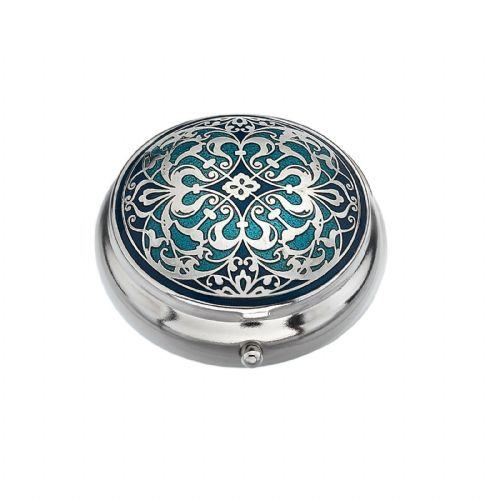 Pillbox Silver Plated Arabesque Design Blue Brand New and Boxed